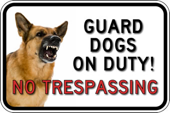 STOP Signs And More! No Trespassing Guard Dog Photo Signs - 18x12  - Reflective Rust-Free Heavy Gauge Aluminum Security Signs at Sears.com