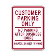 Customer Parking Only Sign No Parking After Business Hours - 18x24