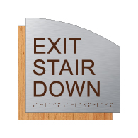 ADA Exit Stair Down Sign - Designer Brushed Aluminum and Wood Laminates with Tactile Text and Braille
