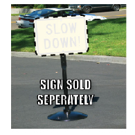 40-Pound Portable Cast-Iron Sign Post, Base, and Hardware