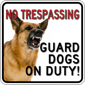 STOP Signs And More! No Trespassing Guard Dog Photo Signs - 18x18  - Reflective Rust-Free Heavy Gauge Aluminum Security Signs at Sears.com