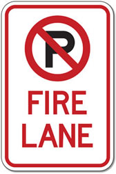 No Parking Symbol Fire Lane Signs - 12x18