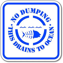 No Dumping This Drains To Ocean Sign - 12x12 - Reflective Rust-Free Heavy Gauge Aluminum No Dumping In Drain Signs