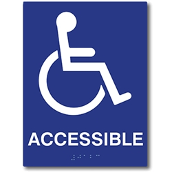 ADA Compliant Accessible Symbol Sign with Tactile Text and Grade 2 Braille - 6x8