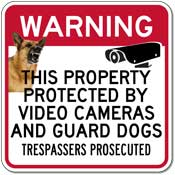 STOP Signs And More! Property Protected By Video Cameras and Guard Dogs - 18x18 at Sears.com