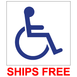 Package of 6 Labels for Restaurant Tables- with Wheelchair Symbol of Accessibility (ISA) printed in your choice of Blue, Black, Red or Green on a transparent adhesive label. Available in sizes from as small as 1x1 inch up to 6x6 inches.