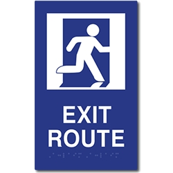 ADA Compliant Running Man Symbol Exit Route Sign with Tactile Text and Grade 2 Braille - 6x10