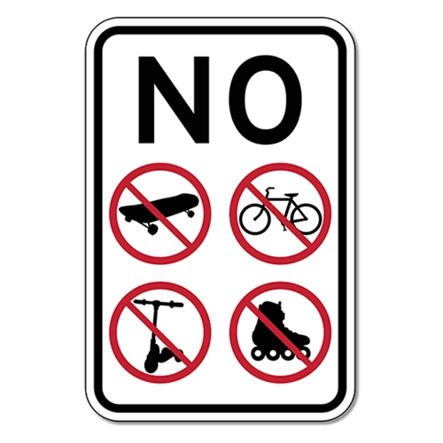 no skating bicycling rollerblading scooter riding sign