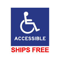 Label - Wheelchair Symbol and text Accessible - 6x6 (Package of 3)