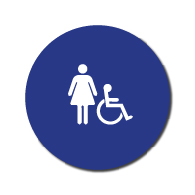 ADA Compliant and Title 24 Compliant  Womens Restroom Door Signs with Female and Wheelchair Symbols - 12x12