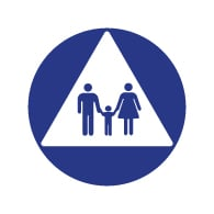 ADA Compliant Family Unisex Restroom Door Signs - 12x12