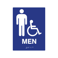 ADA Compliant Accessible Mens Restroom Wall Signs - 6x8