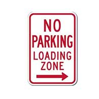 R7-6 No Parking Loading Zone Left Arrow Signs - 12x18 - Reflective Rust-Free Heavy Gauge Aluminum No Parking Signs