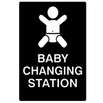 B Stock: ADA Compliant Baby Changing Station Restroom Sign - Black - 6x9