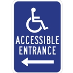 B-Stock: ADA Handicap Access Entrance Signs with Left Arrow - 12x18