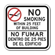 Bilingual No Smoking No Fumar with No-Smoking Symbol Sign - 12x12 - Reflective outdoor-rated aluminum Bilingual No Smoking signs