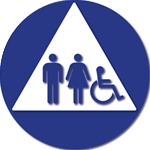 ADA Unisex Restroom Door Sign with ISA and Pictograms on White Triangle - 12x12