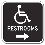 Outdoor Rated Aluminum Accessible Restrooms Sign - Right Arrow - 12x12 - Reflective Rust-Free Heavy Gauge (.063) Aluminum Restroom Signs