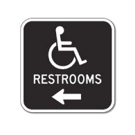 Outdoor Rated Aluminum Accessible Restrooms Sign - Left Arrow - 12x12 - Reflective Rust-Free Heavy Gauge (.063) Aluminum Restroom Signs