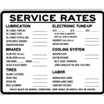 Auto Repair Service Rates Sign - 30x24 - Powder Coated Black on Sturdy and durable White aluminum Auto Repair Signs