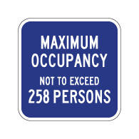 Maximum Occupancy Sign - 12x12 - Reflective aluminum Maximum Occupancy signs