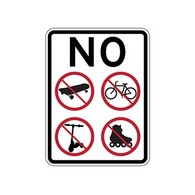 No Skateboarding Bicycle Riding Roller Blading Roller Skating Scooter Riding Sign - 18x24 - Reflective heavy-gauge rust-free No Skateboarding Signs