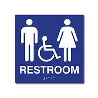 ADA Compliant Wheelchair Accessible Unisex Restroom Wall Signs with Tactile Text and Grade 2 Braille - 8x8