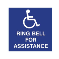 ADA Ring Bell For Assistance Signs (No Braille) - 10x10