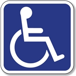 ISA- International Symbol of Accessibility Sign - 6x6 - Durable Baked Enamel .050 gauge Aluminum Symbol of Accessibility sign with holes at right and left sides centered for easy mounting