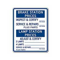 Brake and Lamp Station Combo Price Sign - 24x30