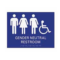 ADA Compliant Wheelchair Accessible Gender Neutral Wall Sign, Restroom Wall Signs with Tactile Text and Grade 2 Braille - 12x9