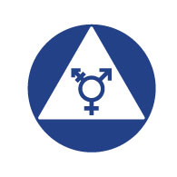ADA Gender Neutral Restroom Door Sign with ISA and Pictograms on White Triangle - 12x12