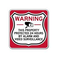This Property Protected 24 Hours Shield Sign 12x12