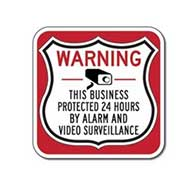 This Business Protected 24 Hours Shield Sign 12x12