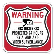 This Business Protected 24 Hours Shield Sign 18x18