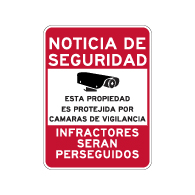 Spanish Property Protected By Video Surveillance Sign - 18x24
