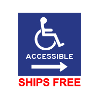 Label - Wheelchair Symbol (ISA) and word Accessible with Right Arrow - 6x6