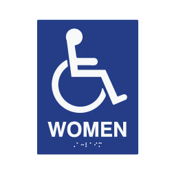 ADA Compliant Wheelchair Access Pictogram with Text Women Restroom Wall Sign - Tactile Text and Grade 2 Braille - 6x8