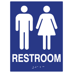 ADA Compliant Unisex Restroom Wall Signs with Tactile Text and Grade 2 Braille- 6x8