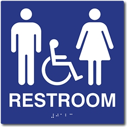 Bathroom Signs Braille ada wheelchair unisex restroom wall signs, tactile, grade 2 braille