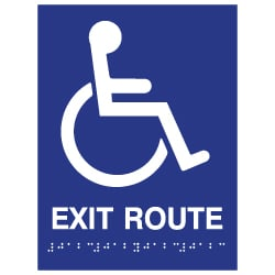 ADA Compliant Accessible Symbol Exit Route Sign with Tactile Text and Grade 2 Braille - 6x8