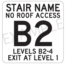 Custom Reflective Stairwell and Floor Indicator Signs (No Braiile - Not ADA Compliant) - 12x12 Size