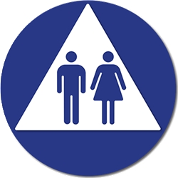 ADA Compliant and Title 24 Compliant Unisex Restroom Door Sign with Male and Female Symbols on White Triangle - 12x12