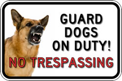 BuyNo Trespassing Guard Dog Photo Signs - 18x12 - Full-Color Reflective Aluminum Guard Dog Signs