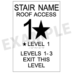International Fire Code Stair Signs with Tactile Text and Grade 2 Braille - 12x18  | Complies with International Fire Code (IFC 1022.9)