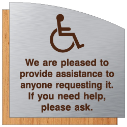 ADA We Are Pleased To Provide Assistance Sign - Brushed Aluminum & Wood Laminates with Engraved Wheelchair Symbol and Text | STOPSignsAndMore.com