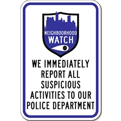 Neighborhood Crime Watch Shield Sign - 12x18