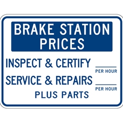 Brake Station Price Sign - 24x18