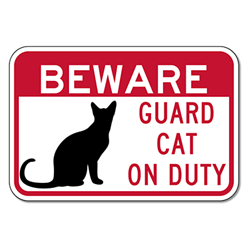 Buy Guard Cat On Duty Signs Signs - 18x12 - Full-Color Reflective Aluminum Guard Cat Signs