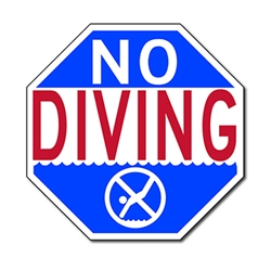 No Diving warning sign - 12x12